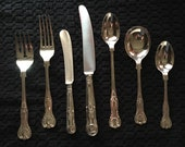 12 7-Piece Place Settings of English King Electroplate Flatware by Cooper Bros and Sons - 84 Total Pieces
