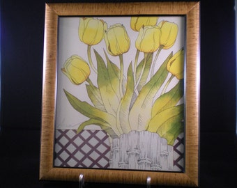 ON SALE Vintage Yellow Tulips Hand Painted Engraving by Sasser - 30% off