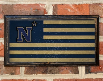 08dd948ac75 US Navy Flag Midshipmen Army Navy Game N Star Logo Wall Art Sign Plaque  Gift Present Home Decor Vintage USNA Sailor Naval Academy Antique