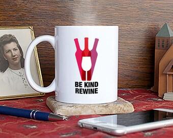 Be Kind, Rewind, Coffee, Mug, Cup, Gift, Present, Humorous, Funny, Red, White, Vino, Vintage, Wine, Book Club