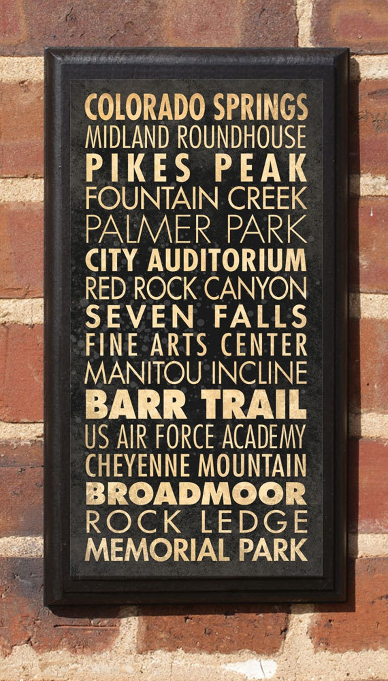 Colorado Springs CO Points of Interest & Destinations Wall Art Sign Plaque  Gift Present Home Decor Vintage Style Red Rock Air Force Classic