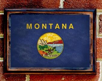 Montana, MT, State Flag, Wall Art, Sign, Plaque, Gift, Present, Decor, Vintage, Billings, Helena, Bozeman, Big Sky, Missoula, Great Falls