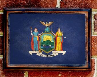 New York, NY, State Flag, Wall Art, Sign, Plaque, Gift, Present, Decor, Vintage, Empire, NYC, City, Syracuse, Albany, Buffalo, Long Island