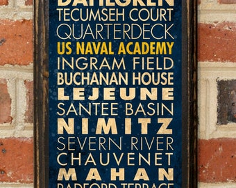 US Navy A Points of Interest Wall Art Sign Plaque Gift Present Decor Vintage Style USNA Sailor Naval Academy Football Midshipmen Antique