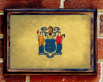New Jersey, NJ, State Flag, Wall Art, Sign, Plaque, Gift, Present, Decor, Garden, Newark, Paterson, Atlantic City, Trenton, Edison, Toms