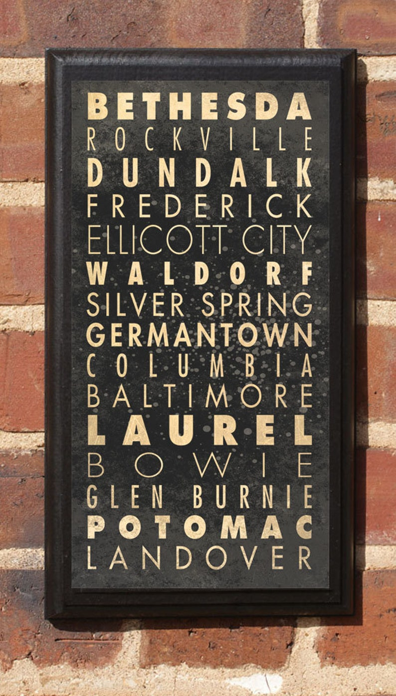 Maryland Cities Wall Art Sign Plaque Gift Present Home Decor Etsy
