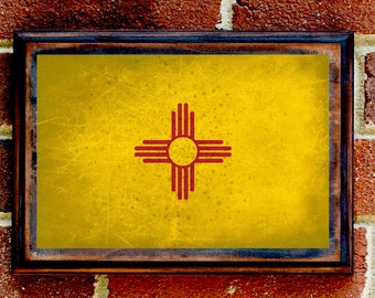 New Mexico, NM, State Flag, Wall Art, Sign, Plaque, Gift, Present, Decor, Albuquerque, Santa Fe, Las Cruces, Roswell, Taos, Enchantment