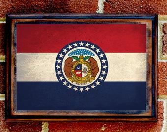 Missouri, MO, State Flag, Wall Art, Sign, Plaque, Gift, Present, Decor, Vintage, St. Louis, Branson, Kansas City, Springfield, Joplin