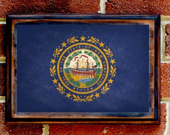 New Hampshire, NH, State Flag, Wall Art, Sign, Plaque, Gift, Present, Decor, Granite, Concord, Manchester, Portsmouth, Nashua, Keene