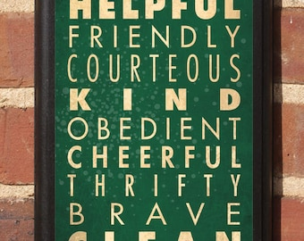 Boy Scout Laws Wall Art Sign Plaque Home Decor Vintage Style Gift Present Custom Color helpful friendly kind reverent thrifty brave Classic