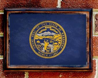 Nebraska, NB, State Flag, Wall Art, Sign, Plaque, Gift, Present, Decor, Vintage, Cornhusker, Omaha, Lincoln, Grand Island, Kearney, Bellevue