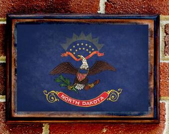 North Dakota, ND, State Flag, Wall Art, Sign, Plaque, Gift, Present, Decor, Vintage, Bismarck, Fargo, Minot, Grand Forks, Williston