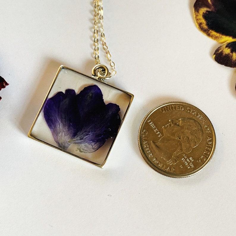 Pretty purple delphinium flower necklace square silver pendant