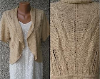 Vintage 90s linen-cotton pointelle knit cardigan, size M-L