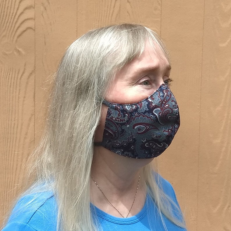 Washable Adult Face Masks 3 Layer Reversible to print or Paisley