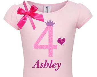 9d7afe48150d 4th Birthday Shirt Heart Rainbow Socks Girls 4 Birthday Outfit Pink Tutu  Purple Princess Crown hair Bow Personalized Name Shirt Long Sleeves