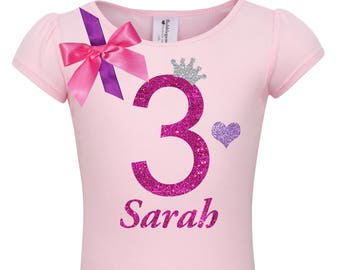 1f5d596f354a Pink 3rd Birthday Shirt Lavender Pink Tutu Princess Party Rainbow Birthday  Hair Bow Love Heart Tiara Crown Personalized Name Shirt