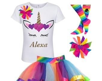4efdf8ccecf Unicorn Birthday Outfit Rainbow Tutu Gold Unicorn Horn Unicorn Socks Girls Birthday  Shirt Unicorn Birthday Shirt Age 3 4 5 6 7 8 9 10 11 12