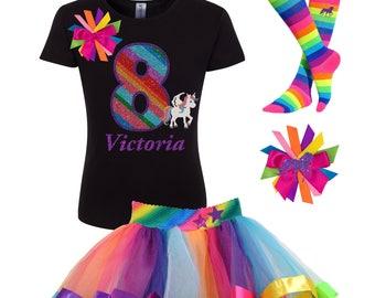 b094352ff656 8th Birthday Black Unicorn Shirt 8 Rainbow Tutu Skirt Fairytale Outfit  Little Pony Party Horse T-Shirt Knee High Socks Unicorn Hair Bow