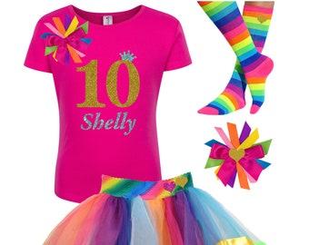 Gold Glitter 10th Birthday Shirt Pink Rainbow Tutu Party Hair Bow Personalized Name Socks Dress Ten 10
