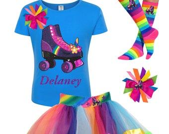 7c41a028e Unicorn Birthday Roller Skate Shirt Rainbow Tutu Dance Skirt Knee High Socks  Birthday Girl Skating Party Outfit Kids 4 5 6 7 8 9 10 11 12