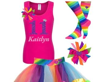 5e386806c 11th Birthday Outfit Eleven Shirt Tween Birthday Girl Princess Rainbow Tutu  Dress Hair Bow Socks Personalized Name Double Digits Shirt 11
