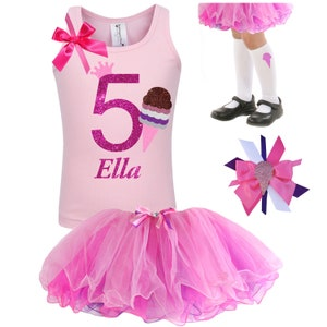 3rd Birthday Ice Cream Party Shirt Tutu Candy Shop Carnival Birthday Set Chocolate Vanilla Strawberry Ice Cream Scoops Personalized Name 3