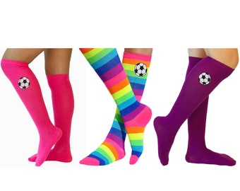 fb4d1f840a22 Girls Soccer Socks Rainbow Knee High Socks Black and White Glitter Soccer  Ball Team Player Socks Sports Play Football Colorful Feet Socks