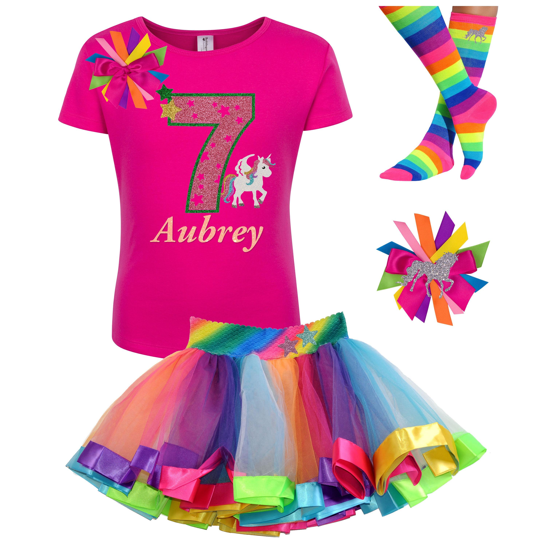 unicorn birthday shirt 7th birthday outfit rainbow tutu  etsy