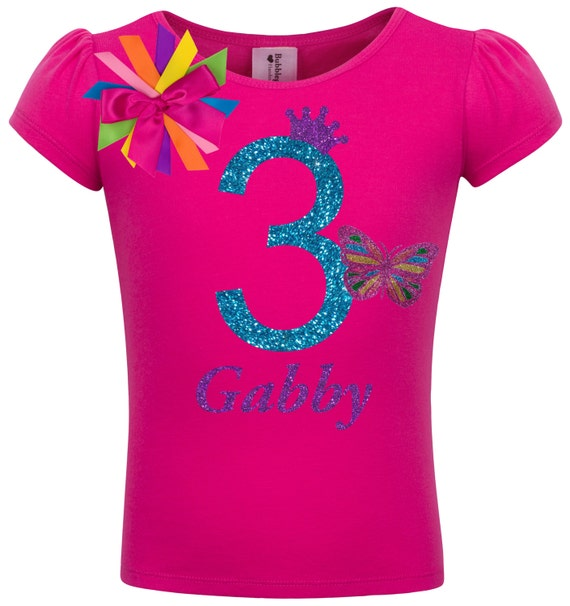 Bubblegum Divas Little Girls 2nd Birthday Rainbow Butterfly Shirt