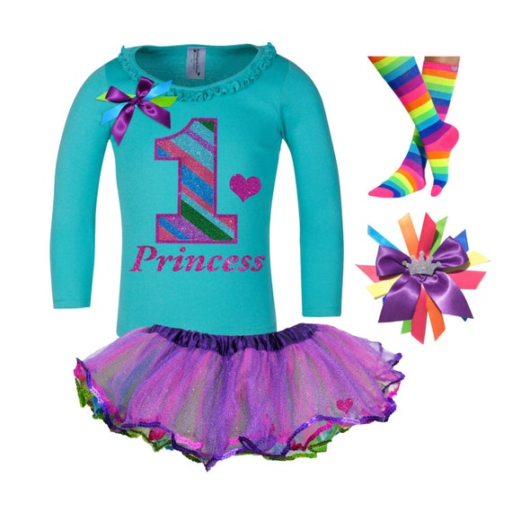 Girls/' 5th Birthday Outfit Butterfly Teal Shirt Rainbow Tutu Add Name 5