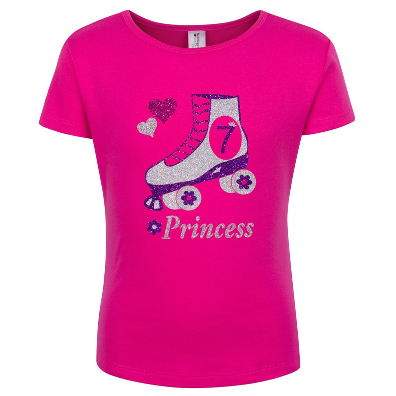 bc732fbb2d386 7th Birthday Roller Skate Party Shirt Pink Skate Outfit Bling