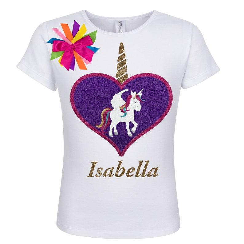 13b9964ad Rainbow Unicorn Love Heart Girls Birthday Shirt Gold Glitter | Etsy