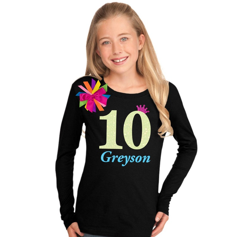 10th Birthday Shirt Tween Girl Outfit Glow Party Neon Pink