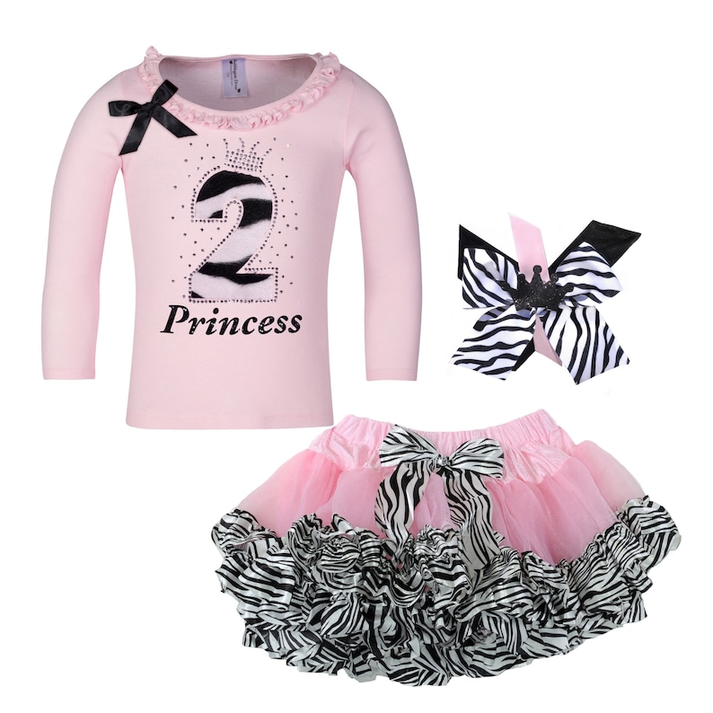 b86a5d6dec5b9 Girls 2nd Birthday Outfit Kids Zebra Themed Party Pink And Black Birthday  Outfit Zebra Tutu Skirt Animal Print Personalized Shirt 2