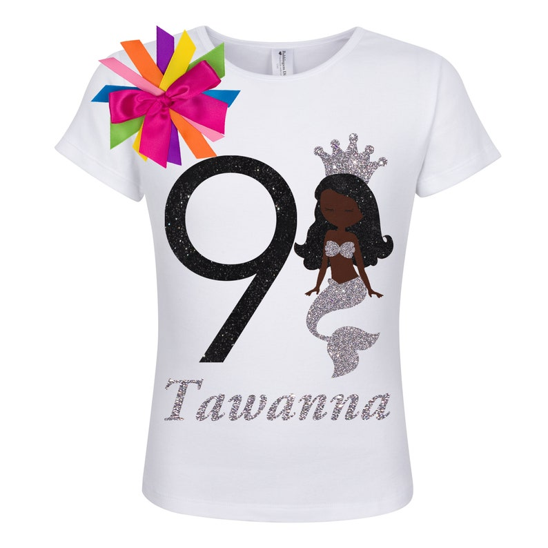 f4f70443420 Girl Mermaid Birthday Shirt Black Mermaids Tail Sea Shell Silver Glitter  Starfish Rainbow Tutu African American Princess Personalized Name 9