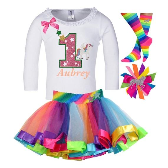 Rainbow gold Glitter.Tiara//crown//tutu Baby Girls 1st Birthday Cake Smash Outfit
