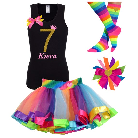 Bubblegum Divas Big Girls 9th Birthday Shirt Rainbow Tutu Outfit