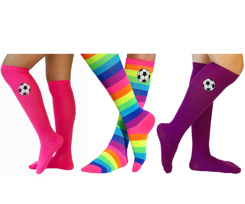 e1efb415d Girls Soccer Socks Rainbow Knee High Socks Black and White