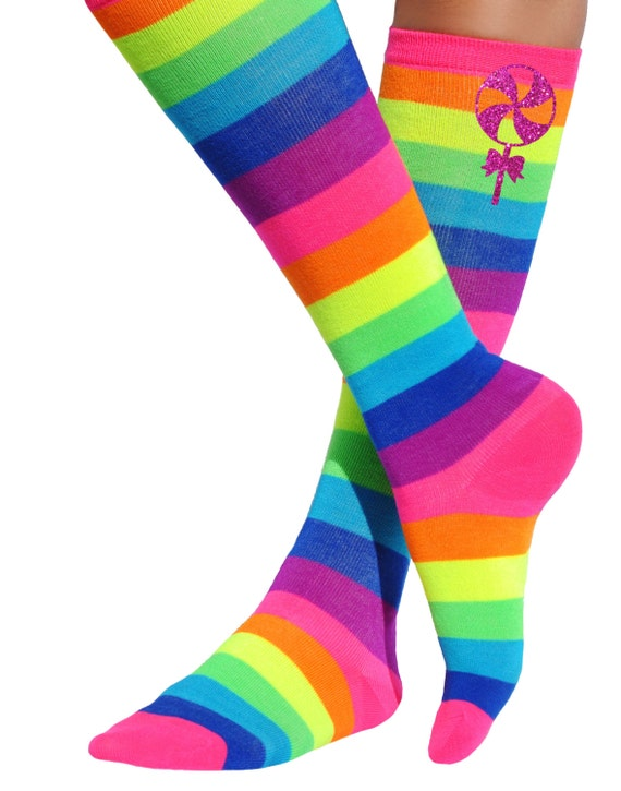 d1d618ce7a3 Lollipop Rainbow Neon Knee High Socks Roller Derby Socks Skate