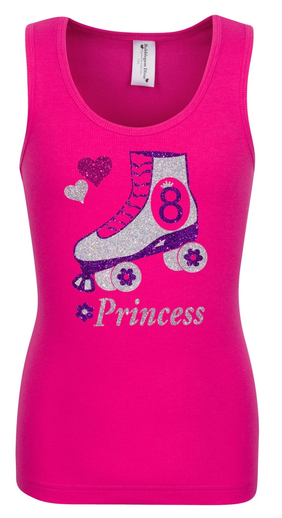 90146074afa5f 8th Birthday Roller Skate Party Shirt Pink Skate Outfit Bling