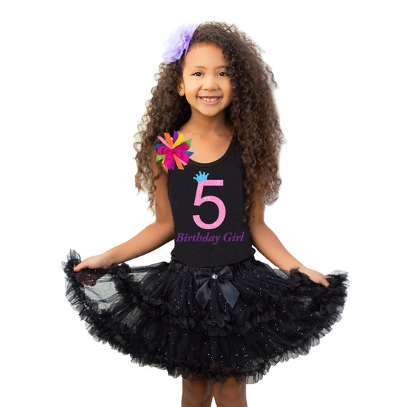 look for big discount lowest price 5th Birthday Shirt Tween Girl Outfit Glow Party Neon Pink Sparkle 5 Black  Tutu Skirt Personalized Name Rainbow Socks Birthday Hair bow