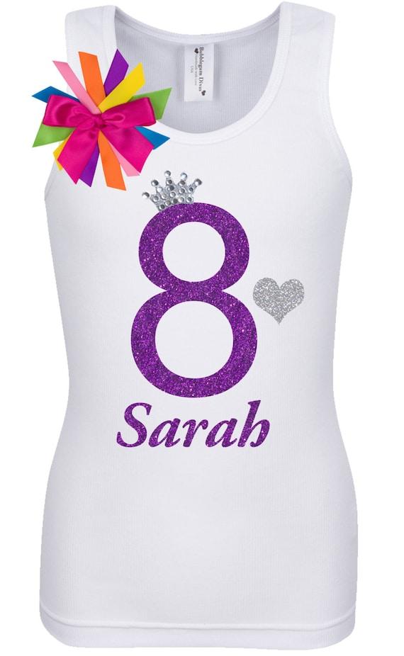 Rainbow Princess Eight Birthday Shirt 8th Party