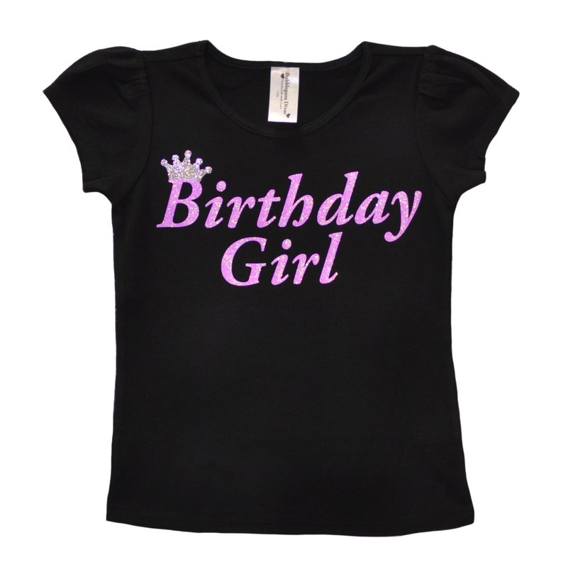 Personalised Any Name Princess Tiara Birthday Girls T-Shirt Age 2 to 12