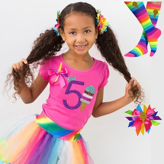 Bubblegum Divas Little Girls 4th Birthday Ice Cream Cone Shirt Pink Tutu Outfit