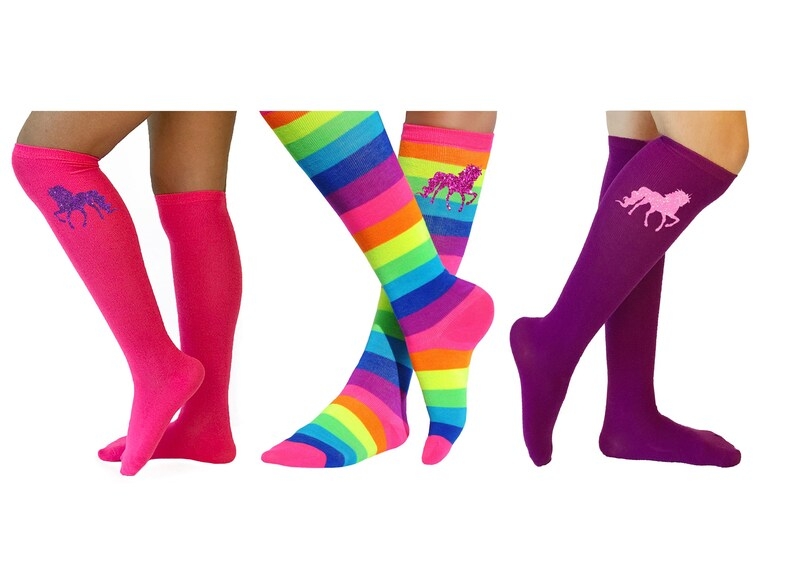 62878135b9c Unicorn Socks Rainbow Stripe Knee High Sock Colorful Fun Boot