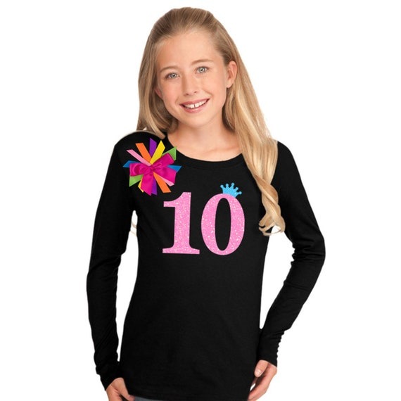 look out for best supplier 100% quality 10th Birthday Shirt Tween Girl Outfit Glow Party Neon Pink Sparkle 10  Rainbow Tutu Skirt Personalized Name Double Digits Neon Birthday Shirt