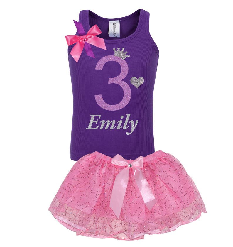 900a95cf7f45 Girls 3rd Birthday Shirt Purple Three Birthday Outfit Tutu
