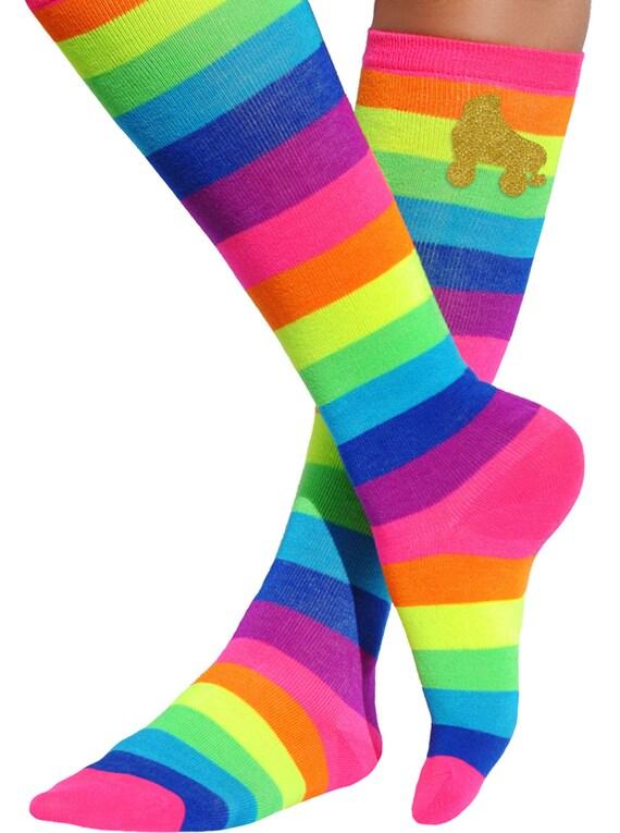 LEG Avenue Funky Rétro Rainbow Star Genou Chaussettes Roller Derby robe fantaisie