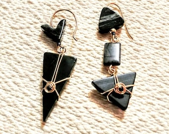Ear rings, Black asymmetrical triangle ear rings wire wrapped in gold fill wire. Glass and stone ear rings. Gift for her. Snazzy jewelry